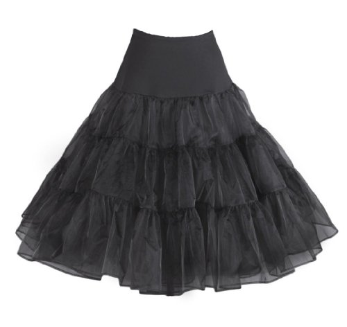Fiona Frauen 50er Jahre Rock Kleid, 65cm Länge (L-XL, schwarz)