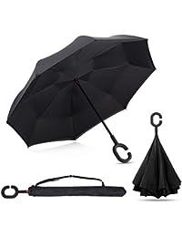 GreenK Paraguas Apertura Invertida Gotas de Lluvia, Paraguas de Doble Capa con Autonomía y Mango en forma de C para un uso Libre de Manos
