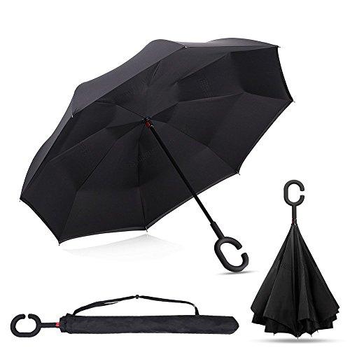 GreenK Parapluie Inversé, Parapluie Canne, Double Couche Coupe-Vent, Mains Libres Poignée en Forme C, Idéal pour Voiture et Voyage (Noir)