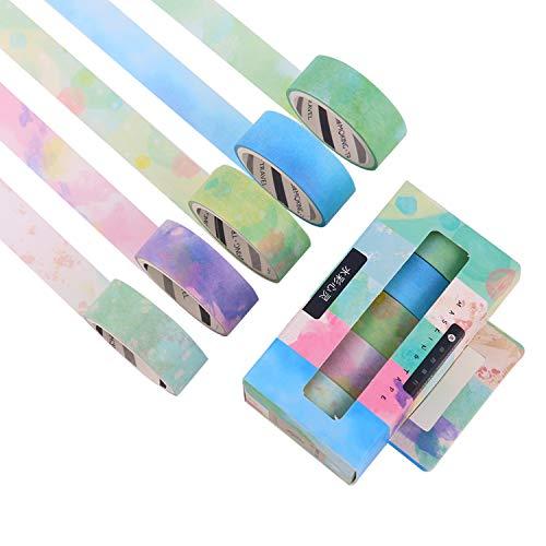 Lomofila washi tape, set di 5 rotoli di nastro decorativo coprente per lavoretti di fai da te, diari, biglietti, schizzi