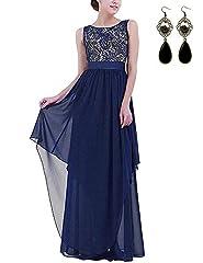 Idea Regalo - MODETREND Donna Elegante Vestiti da Matrimonio Pizzo Abito in Chiffon Lunghi Vestito Formale Banchetto Sera