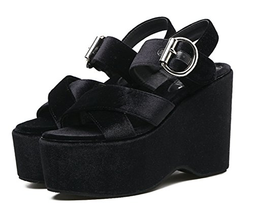 Aisun Femme Mode Talon Compensé Plateforme Sandales Noir