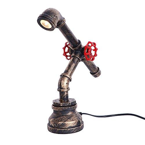 WLBRIGHT 5 Watt LED Retro Industrie Rohr Tischlampe Persönlichkeit Kreative Scheinwerfer Bar Cafe Schreibtisch Nachttisch Dekorative Tischleuchte Einzigen Kopf (Kopf Einzigen Schlauch)