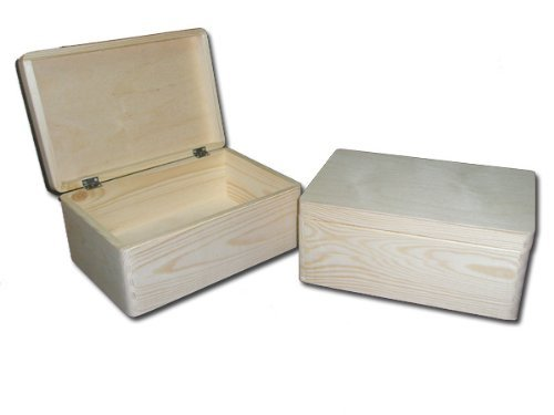 2 x COFRE DE MADERA LLANA / CAJA DE BRICOLAJE / CAJA DE JUGETES / COFRE DE ALMACENAJE/ MALETERO DE MADERA NOPINTADO 39.5x 30x 24cm
