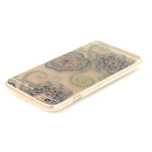 Felfy Coque pour iPhone 6S Plus,iPhone 6 Plus Case,iPhone 6 Plus Ultra Slim TPU Case Housse Silicone Souple Etui Gel Fine Couverture Arrière Anti Poussières Couvercle Anti Rayures Motif Transparent Ca Bleu et Fleurs Vertes
