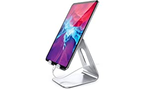 Lamicall Supporto Tablet, Supporto Regolabile - Universale Stand Dock per 2020 iPad PRO 10.5, PRO 9.7, PRO 12.9, iPad Mini 2 3 4, iPad Air, Air 2, iPhone, Samsung Tab, Altri Tablets - Argento