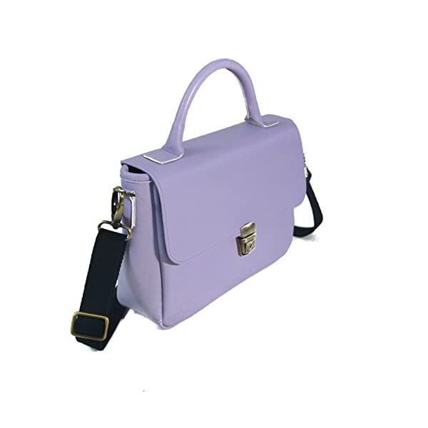 Women handbag with strap; lilac leather; eco-friendly - handmade-bags