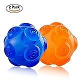 Gomma resistente cane-giocattolo indistruttibile palline interattivo Squeak training giocare Pet balls–blu e arancione per cani di taglia piccola, media e grande