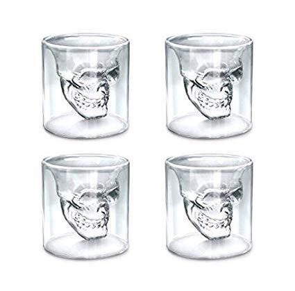 LELUN Doppel-Glas, handgefertigt, hitzebeständig, Kristallglas, Schädelglas, 4er-Set Becher aus Borosilikatglas von Whisky, transparent, temperaturbeständig (-20 bis 130 °), 74 ml
