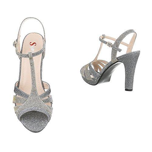 Design Escarpins Heel M235 High argent femme gris Sandales Ital Chaussures Aiguille Sandales OxwU8pWq