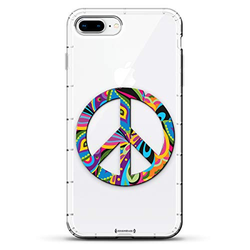 Lifestyle Schutzhülle für iPhone 8/7 Plus, Hipster-Motiv mit Buntem Peace-Zeichen und 3D-Druckmotiv -