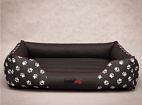 Hobbydog cuccia per cani, in resistente tessuto cordura, taglia l, grigia con impronte di zampe