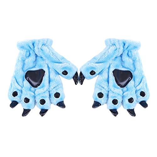 SEVENHOPE Tierpfote Klaue Plüsch Unisex Erwachsene Halloween Kostüm Cosplay Handschuhe Warme Handschuhe (Blau)