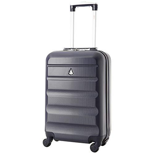 Aerolite ABS Bagage Cabine Bagage à Main Valise Rigide Légere à 4 roulettes, pour Ryanair, easyJet, Air France, Lufthansa, Jet2 et Plus (Marine)