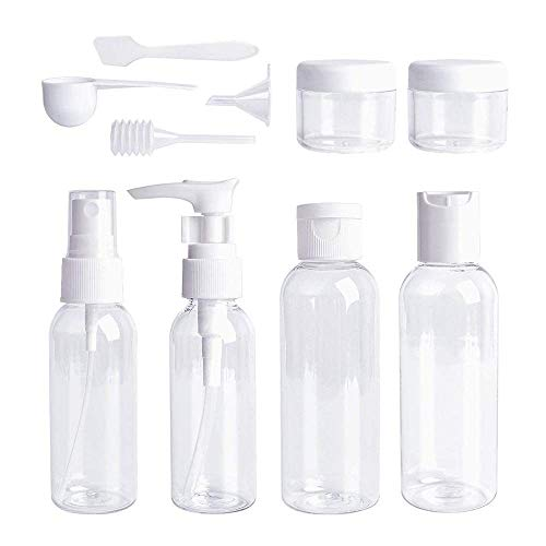 EUYOUZI Travel Bottles Set,Portable Transparent 10 Pieces Air Travel Bottles Toiletries Liquid Dispensing Tubes Containers Set with Storage Bag for Your Favorite Cosmetics, Lotions and Creams (10pcs)