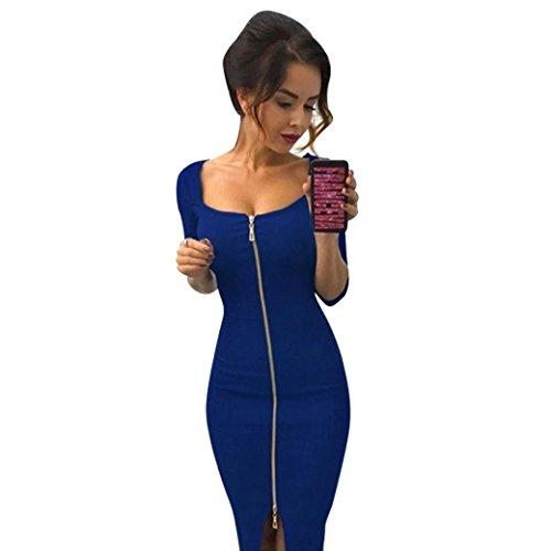 Elegant Damen Kleider Rosennie Frauen Sexy Zipper Office Kleider Abend Party Kleider Rückenfrei Front-Reißverschluss Slim Tasche Hüfte Kleid Clubwear Partykleid Cocktailkleid Abendkleid (S, Blau) (Bandeau Verschönert)