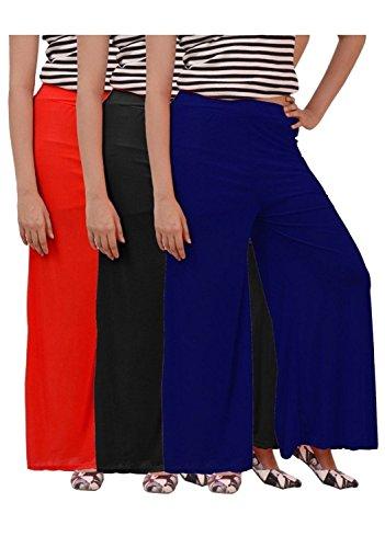 Girls, Ladies Plazzo combo of 3 (Black,Red and Dark Blue)