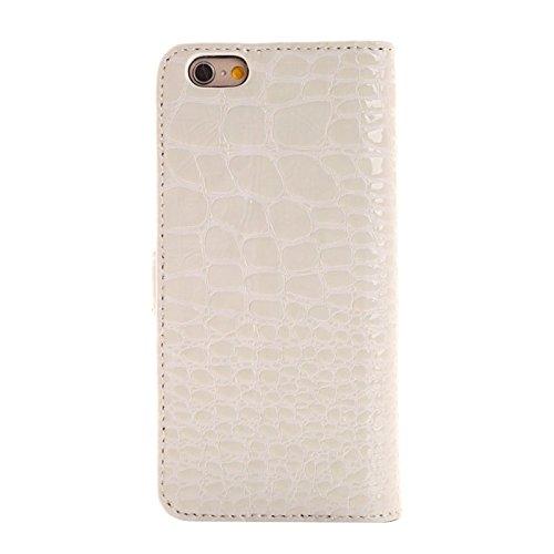 Wkae Case Cover Krokodil-Beschaffenheits-Leder-Kasten mit Halter und Karten-Slots für iPhone 6 Plus &6S plus ( Color : White ) White