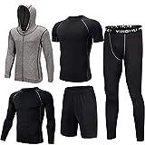 Ultrey Uomo 5 Pezzi Fitness Palestra Completi Sportivi da Uomo Abbigliamento Sportivo,Compressivo Maglie e T-Shirt Pantaloni Collant a Compressione Vestiti