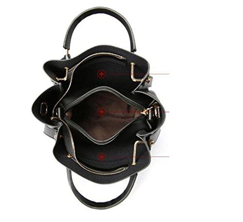 QPALZM Womens PU Top Handtasche Tube Satchel Style Tassel Reißverschluss Verschluss 2 Packungen A4