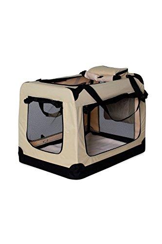 dibea TB10043 Hundetransportbox Hundetasche faltbare Autobox Kleintiertasche (Größe und Farbe wählbar), beige