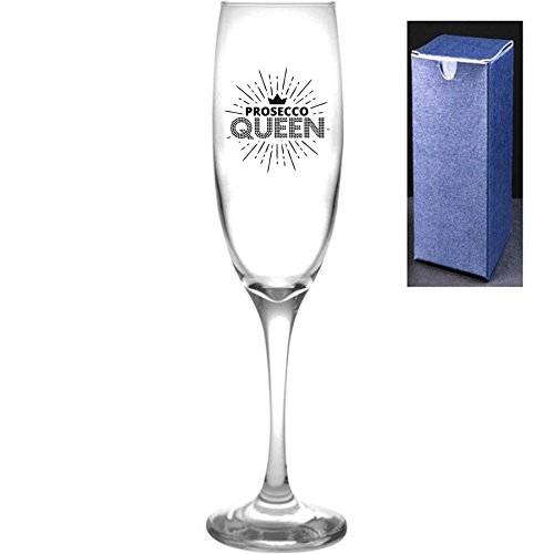 fantaisie Prosecco Flûte à champagne – Prosecco Queen – Prosecco Cadeau idéal, Noir, Engrave A Personal Message On The Reverse Side