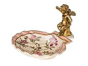 Coupe/porte-savon - motif angelot - style antique - porcelaine