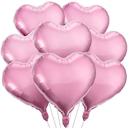 MOOKLIN 20 x Globos Metalicos de Corazón Rosado Helio, Corazón Globos Decoración para egalo de San Valentín Amor, Fiesta Cumpleaños, Boda y Fiesta (Desinflado: 45 x 45cm)