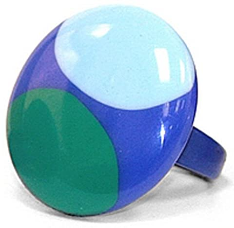 Jodie Rose Resin Ring In Blue with Light Blue and Green Circles - Size M