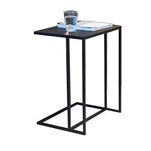 DEO Snack End Sofa C Table, Table Basse Coté Ordinateur Portable Métal Noir, Or, Blanc 35W x 45L x 55H (Couleur : NOIR)