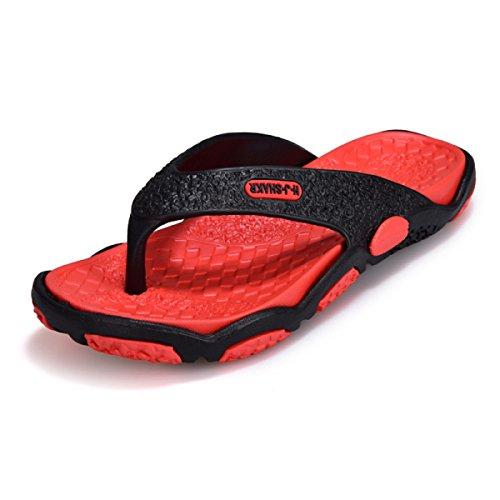 LXXAMens Sommer Mules Strand Leichtgewichtler Flip Flops,Black+red-39EU