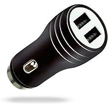 MyGadget Cargador de Coche Metálico Doble Puerto USB [2,1A/1A] para Móvil - Adaptador Automóvil ejm Samsung Galaxy Apple iPhone Tablet -Negro Metálico