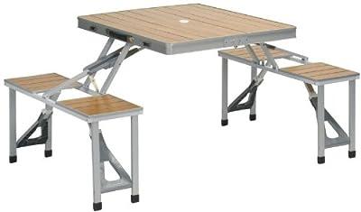 Picknick-Bank und Campingtisch 150x86cm (Gestell+Tisch in stabiler Alu+Holz-Optik, klappbar)
