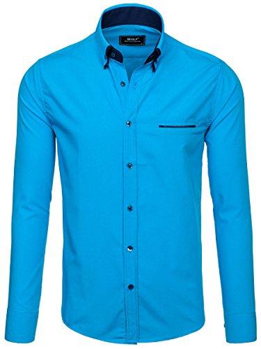 BOLF – Chemise casual – Manches longues – Slim fit – Élégant – Homme [2B2] Bleu