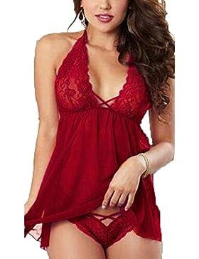 caidi Mujeres lencería Encaje Sexy Ropa de Noche Ropa Interior Babydoll Sleepwear Nightwear Vestido + G-String...