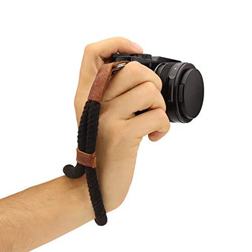 MegaGear Baumwollkamera Handgelenkschlaufe Komfortpolsterung, Sicherheit für alle Kamera  Klein 23cm/9inc  (schwarz) -