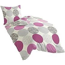 Bierbaum 6383_07 Dessin - Juego de funda nórdica (135 x 200 cm + 80 x 80 cm, franela fina), diseño de círculos, color rosa
