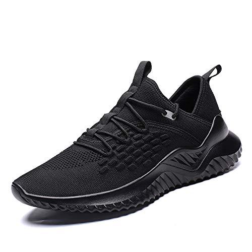 Velukin Scarpe da Corsa su Strada Uomo Sneaker Sportive Scarpe Comode per Camminare Jogging,Nero,44EU