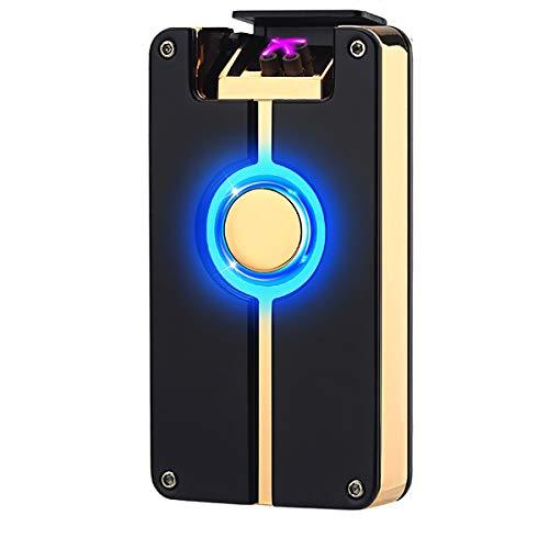 Oumosi Flammenloses Lichtbogenfeuerzeug aus Metall, wiederaufladbar, mit USB-Anschluss f&uumlr Heimgebrauch schwarz / goldfarben