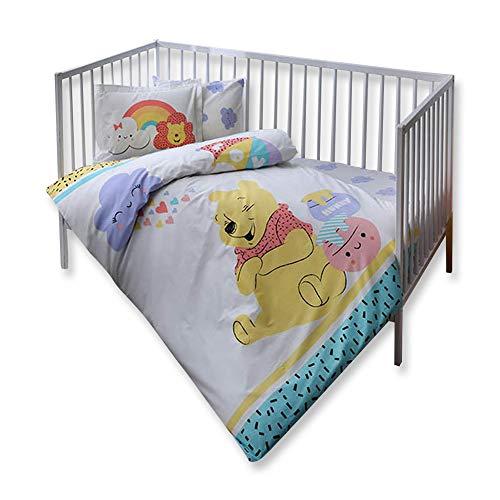 100% cotone biologico morbido e healthy baby lettino set copripiumino set 4pezzi, winnie the pooh hunny con licenza ufficiale
