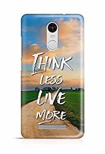 YuBingo Think Less. Live More Designer Mobile Case Back Cover for Xiaomi Redmi Note 3