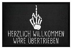 PlimPlom Herzlich Willkommen Wäre Übertrieben Tümatte Skelett Mittelfinger Spruch Hausmatte - Fußmatte mit Gummirand -40cm x 60cm-Schwarz