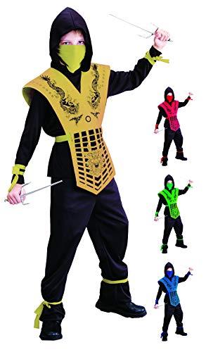 Dragon Kostüm Gold Ninja - Foxxeo schwarz goldenes Ninja Kostüm für für Jungen schwarzes Ninjakostüm Kinderkostüm Größe 122-128