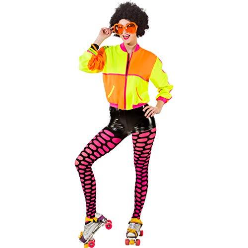 Kostüm 80er Roller Disco - NET TOYS Neon-farbener Blouson für Damen | Neongelb-Neonorange in Größe 42/44 (M/L) | Schrille Frauen-Jacke 80er Jahre | EIN Highlight für 90er-Party & Karneval