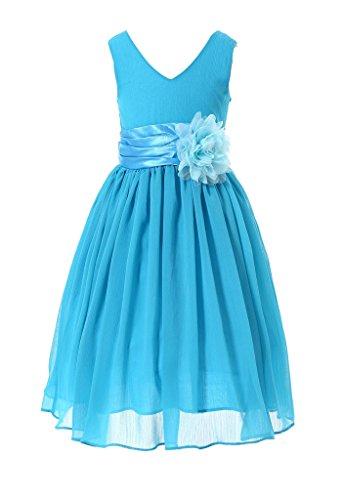 HAPPY ROSE Juniorbrautjungfernkleid Abschlussball-Partykleid Chiffon Blau 2_Jahre -