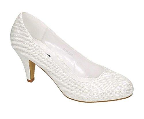 Klassische Damen Glitzer Pumps Stilettos Abend Schuhe Party Hochzeit (39, Weiß)