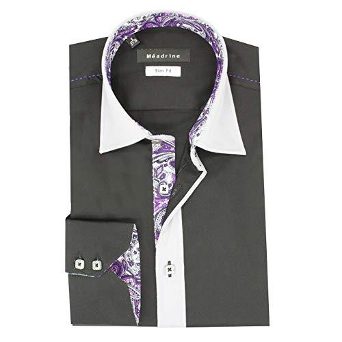 Men ausgestattet, schwarzes Shirt mit Kragen und Hals graue Perle und Auskleidungen Parma Zeichnungen - 2XL, Schwarz