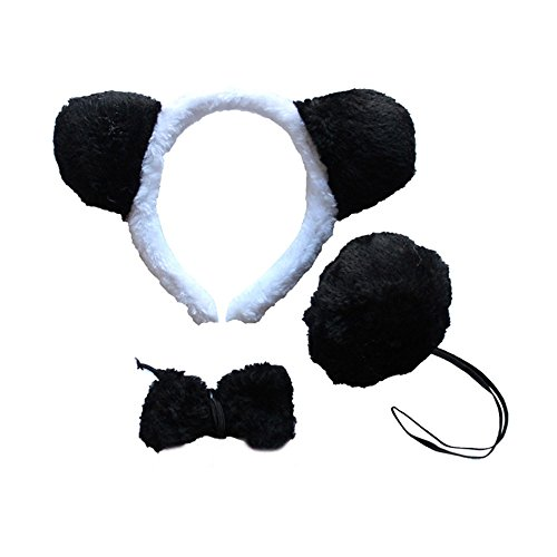 Cheerlife Tierische Cosplay Ohren Stirnband+Krawatte+Schwanz Tierset Weihnachten Halloween Karneval Kostüm Zubehör (Panda)