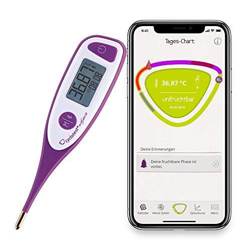 cyclotest mySense Basalthermometer mit Bluetooth und gratis Zyklus-App basierend auf der NFP-Methode für hormonfreie Verhütung & Kinderwunsch
