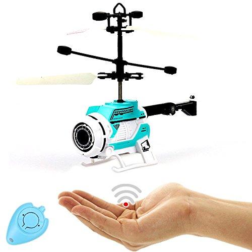 FUN Helicopter (Blau),Fliegender Space Hubschrauber-Einfach zu Steuern mit der Hand!Das Spielzeug für Jung und Alt!Neuheit zu Weihnachten 2017!Der Partyhit!Flugspiel,UFO,Alien,Helicopter,Bestseller